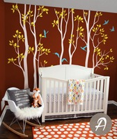 보육 나무 벽 데칼 비닐 화이트 트리 조류 자작 나무 벽 벽화 이동식 트리 어린이 방 장식 거대한 트리 StickerD-310