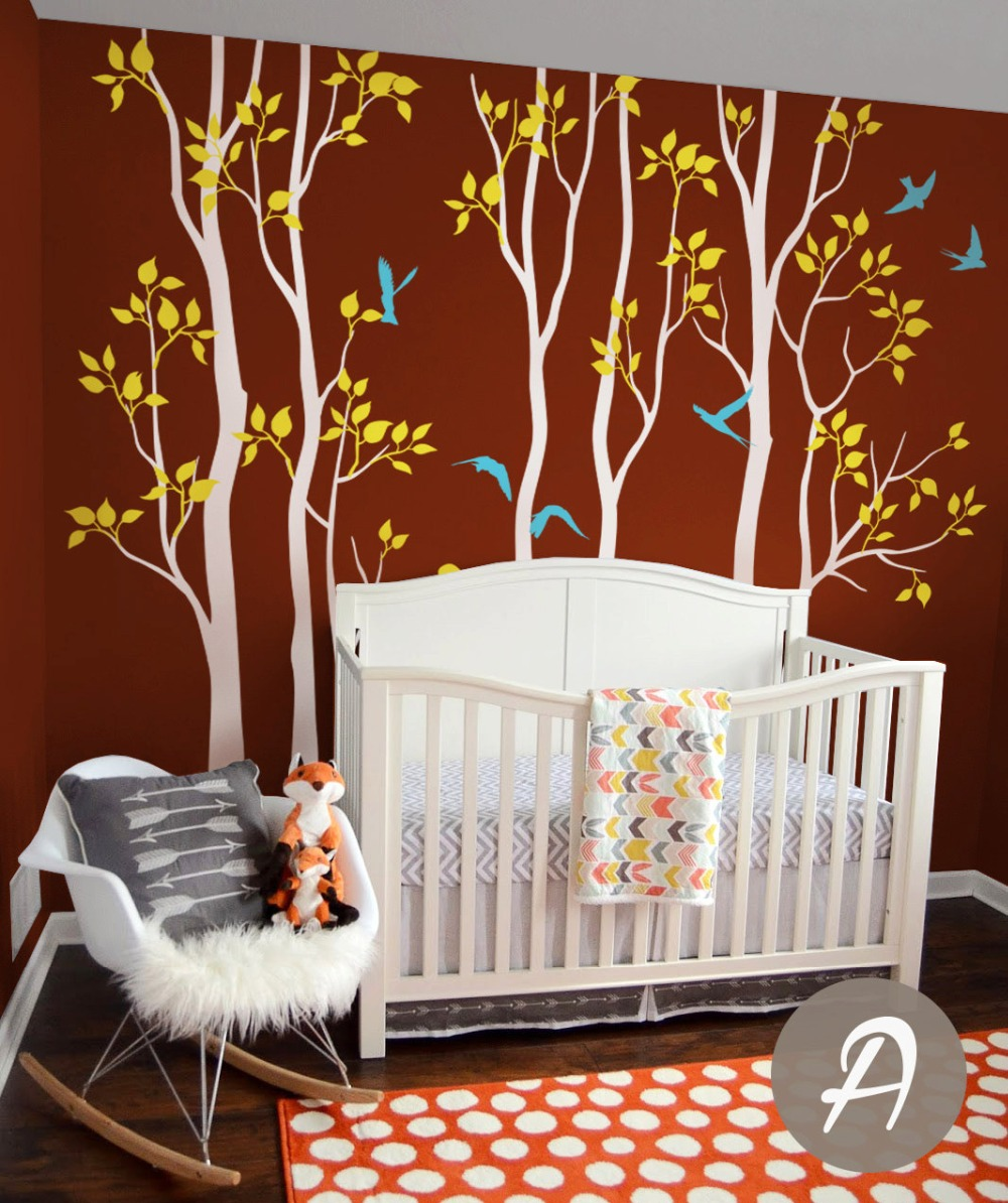 popular trees wall mural buy cheap trees wall mural lots from nursery tree wall decals vinyl white tree with birds birch wall mural removable tree children room