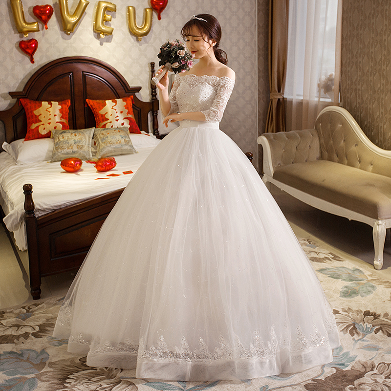 Lamya princess plus size wedding dress with lace sleeves boat neck 2017 women ball gown vestidos de novia in Wedding Dresses from Weddings Events