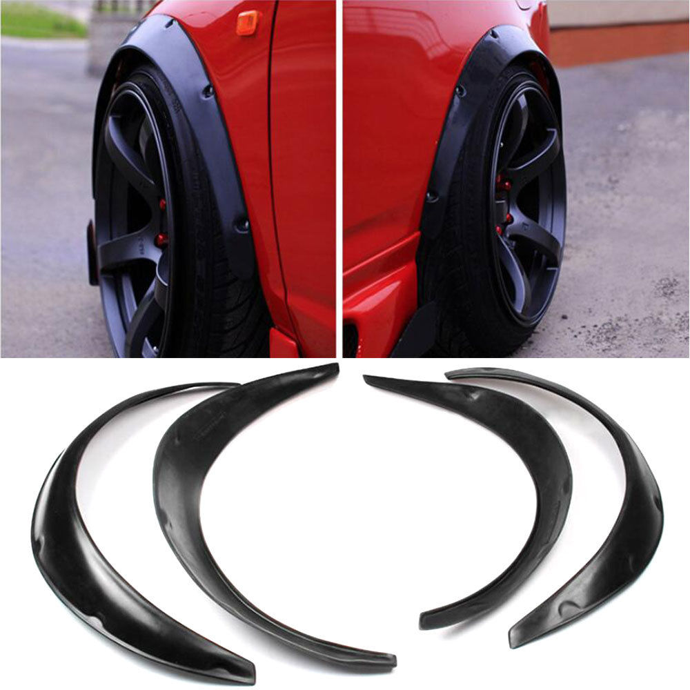 4pcs High Quality Flexible Polyurethane Car Automobile Exterior Car Styling Fender Flares Black Fit For Universal