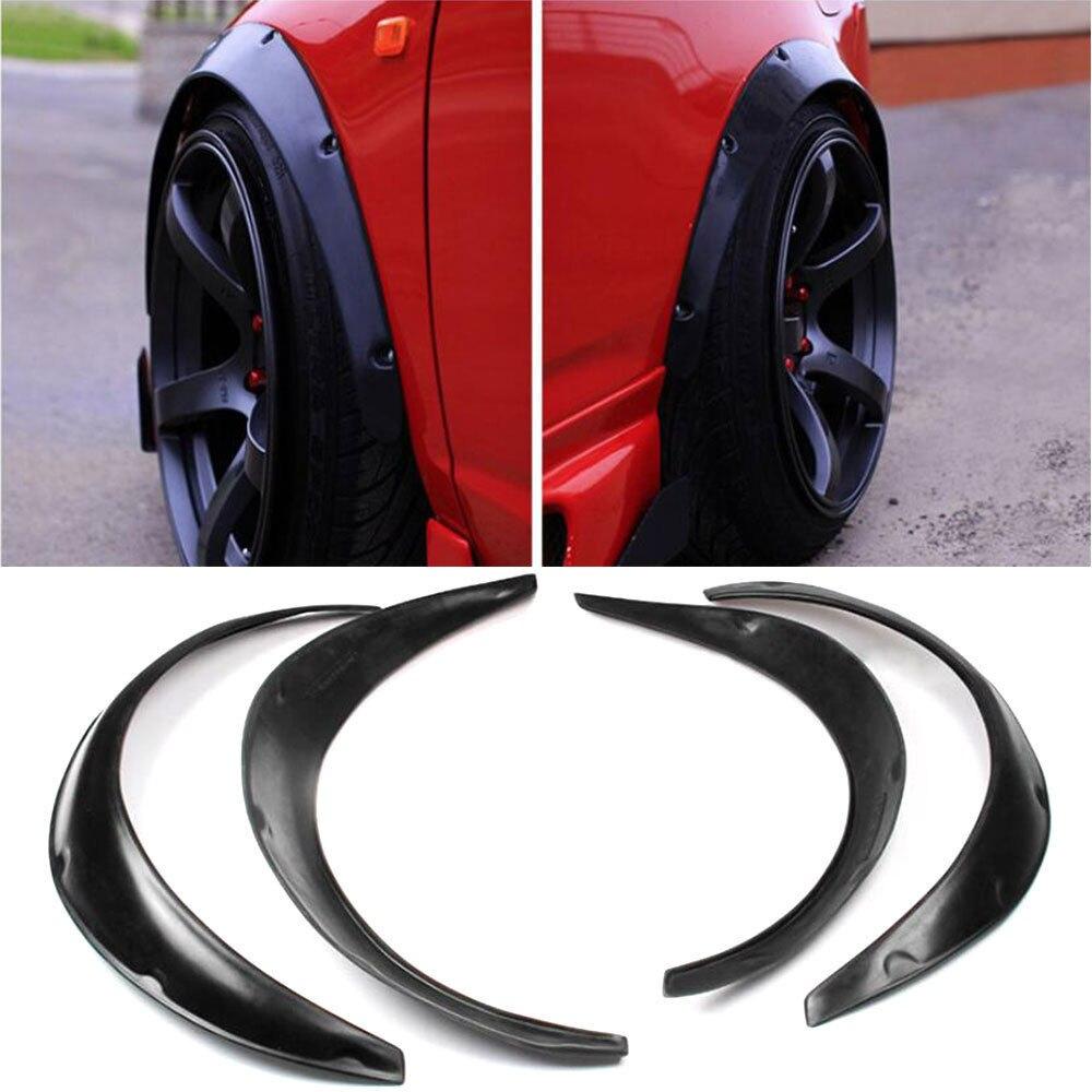 4pcs High Quality Flexible Polyurethane Car Automobile Exterior Car Styling Fender Flares Black Fit For Universal
