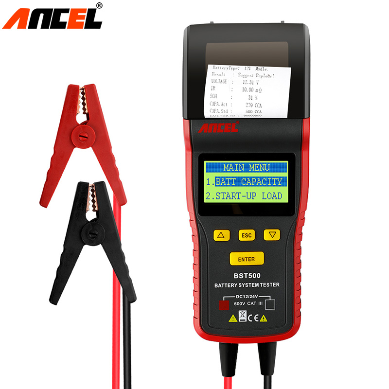 Ancel BST500 12V 24V Car Battery Tester With Thermal Printer Car Heavy Duty Truck Battery Analyzer Battery Diagnostic Tool dhl freeship vd tcs cdp single board multidiag pro with bluetooth 2014 r2 keygen 8 car cable car truck generic diagnostic tool
