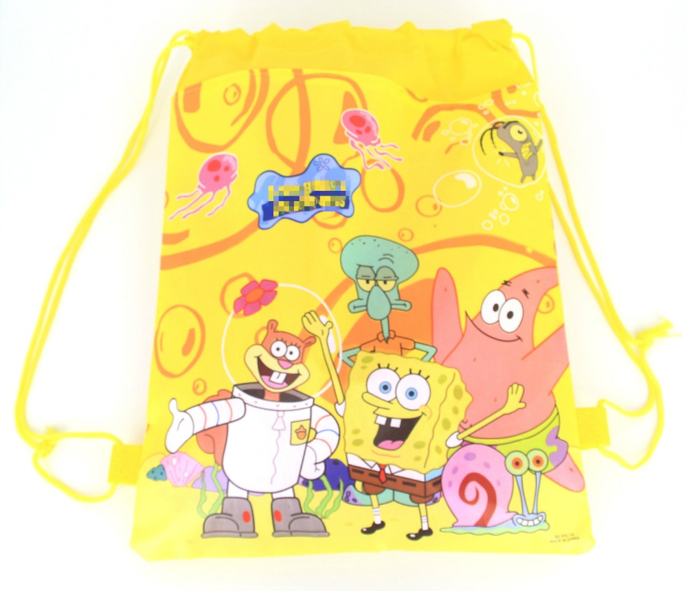 12pcs Non Woven Fabric Drawstring Bags Birthday Theme Backpack Sponge Bob bag for Boy Girls Favors Gift Party Decoratios in Gift Bags Wrapping Supplies from Home Garden