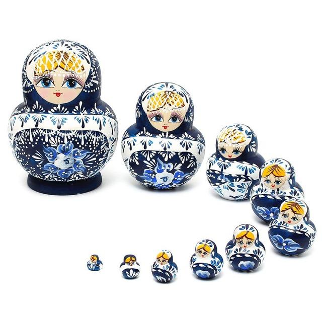 Bonito 10 Pçs/set Presentes De Madeira Bonecas Do Assentamento de Matryoshka Babushka Russa Menina Pintados À Mão Pintura Da Mão Boneca Brinquedos Para As Crianças