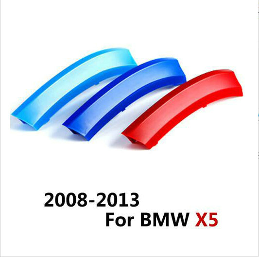 3 Colors/Set ABS 3D M Car Styling Auto Car Front Grille Trim Stickers Cover Motorsport Stickers For Bmw E70 X5 2008-2013 hot sale abs chromed front behind fog lamp cover 2pcs set car accessories for volkswagen vw tiguan 2010 2011 2012 2013