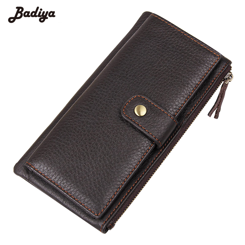 Men's Litchi Pattern Genuine Leather Solid Long Clutch Card Holder Purse Hasp And Zipper Design Men's Wallet With Photo Slot casual weaving design card holder handbag hasp wallet for women