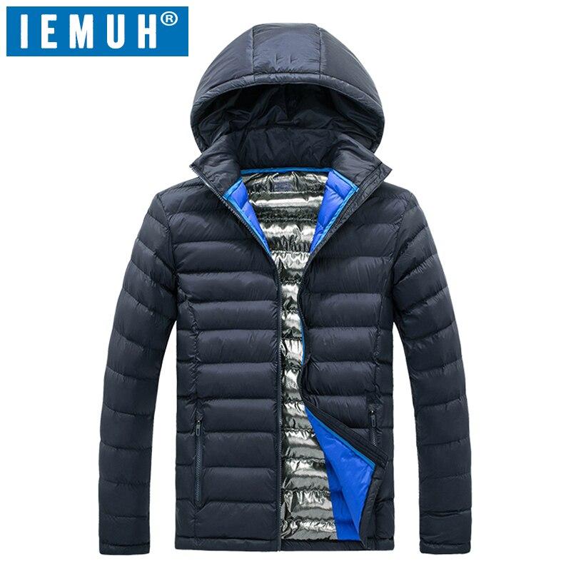 Chaqueta de invierno de marca IEMUH para hombre, chaqueta y abrigo de invierno, chaquetas gruesas acolchadas de algodón para hombre, Parka, ropa de abrigo ajustada