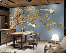 beibehang Customize any size photo 3d wallpaper mural Hand drawn vintage ginkgo bird TV background wall painting