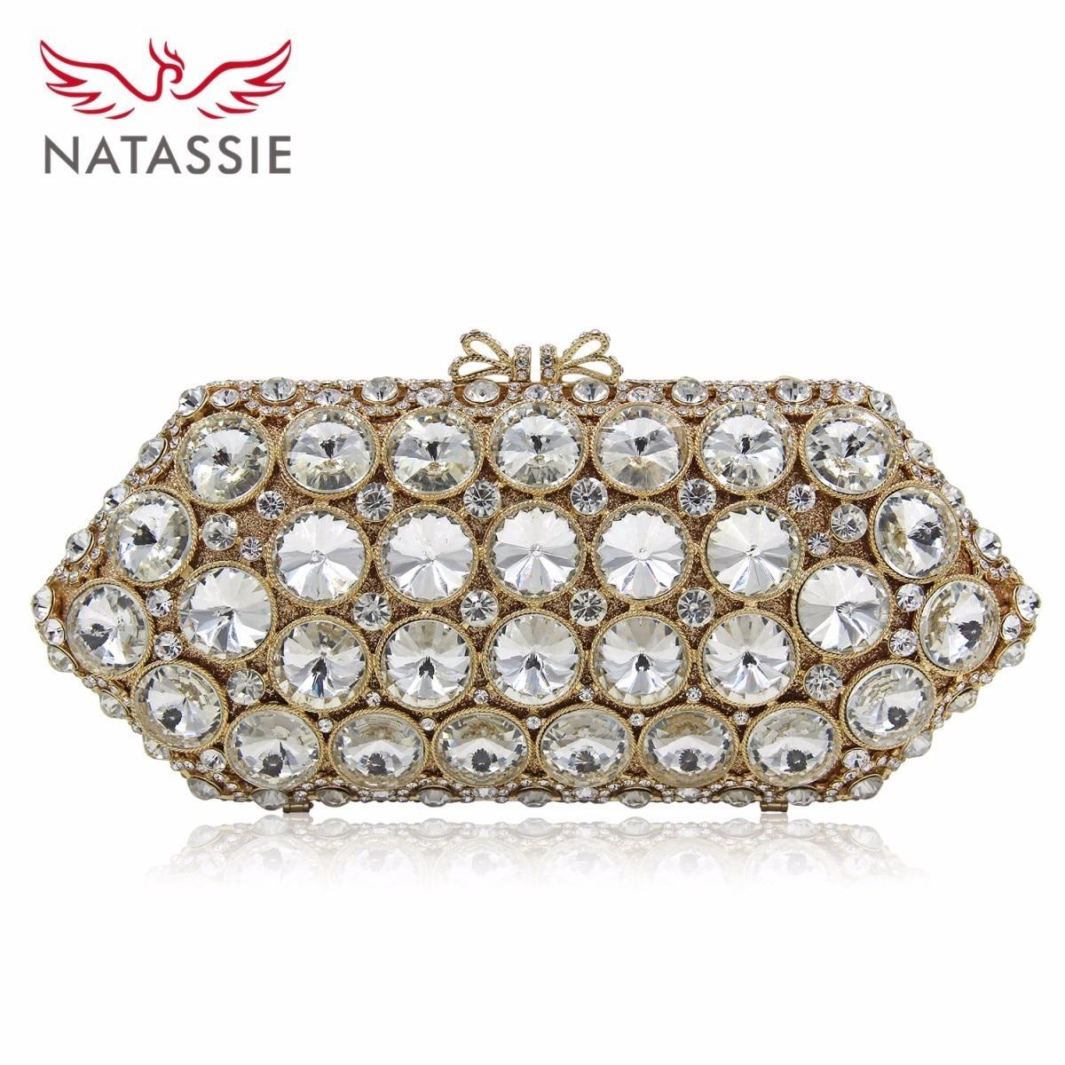 NATASSIE Women Crystal Bag White Stone Wedding Party Clutch Bags Shoulder Long Chain Handbag Gold
