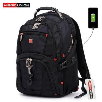MAGIC UNION New USB Charging Laptop Backpack 15.6 inch Teenager Boys Children School Bags Waterproof Large Capacity Schoolbag