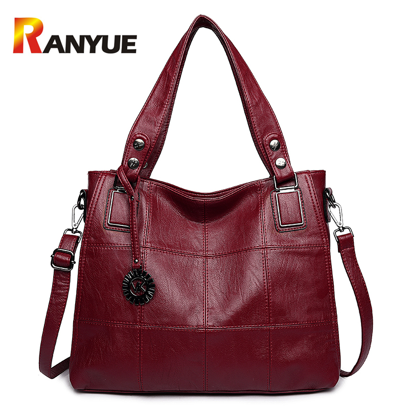 RANYUE Fashion Pu Leather Shoulder Bag Plaid Women Messenger Bags Large Capacity Casual Tote Bag Ladies Hand Bags Bolsa Feminina forudesigns fashion flower painting women casual tote bags large crossbody messenger bags for women female bag bolsa feminina