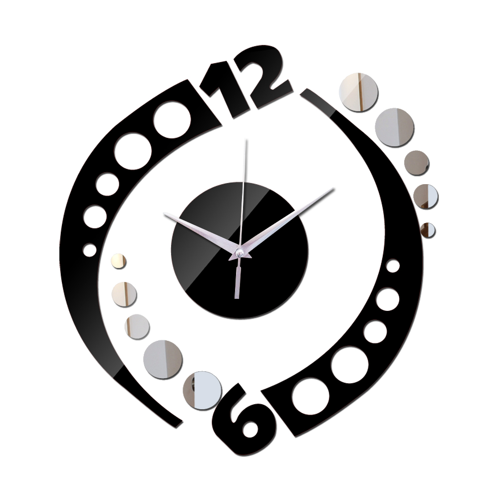 Apressado 2015 nova chegada clocksnew decoração 3d espelho de parede de acrílico diy relógio vara bom presente prata frete grátis