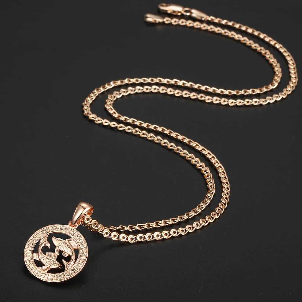 12 Знак зодиака Подвеска Созвездия ожерелье для женщин мужчин 585 розовое золото ожерелье мужские ювелирные изделия Модные подарки на день рождения GPM16A