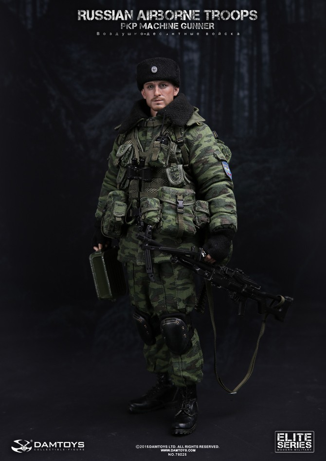 1/6th Military figure RUSSIAN AIRBORNE TROOPS PKP MACHINE GUNNER 12 action figures doll Collectible figure Plastic model toy