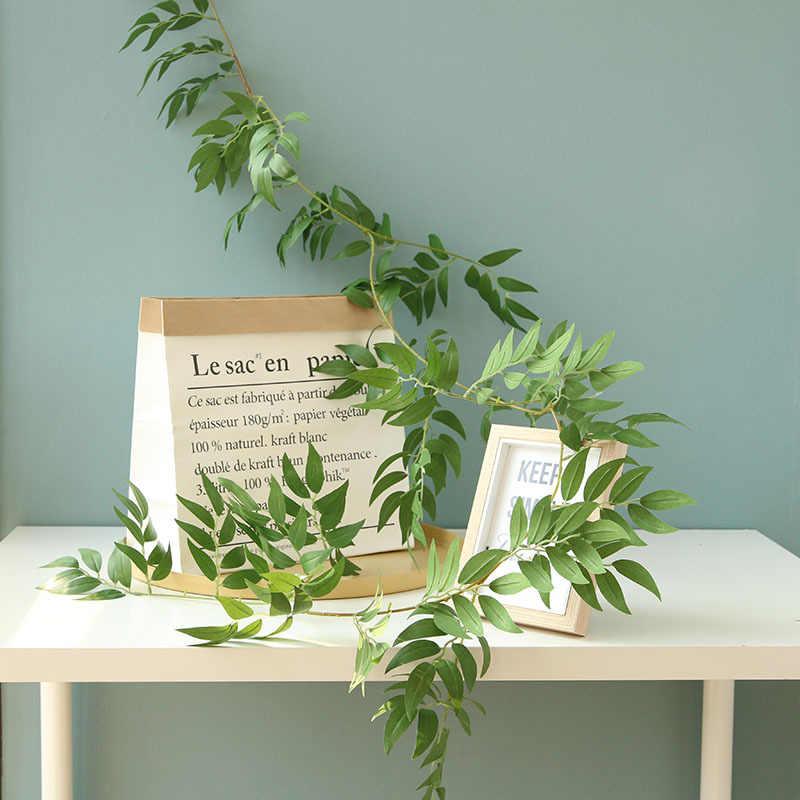 160cm צמחים מלאכותיים ערבה קש מזויף ארוך גפנים זרדים עם ירוק עלה לבית חתונת גן ירק קישוט