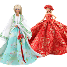 цены на Evening Party Lace Doll Long Tail Gift Present Dress Mix Blue Red Pink White Clothes Set For Barbie Outfit Accessories 1/ 6 New  в интернет-магазинах