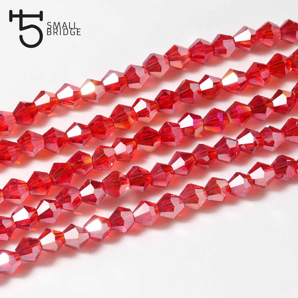 4 Mm Austria Merah Ab Kristal Bicones Manik-manik Kaca Wanita DIY Aksesoris untuk Perhiasan Perles Segi Spacer Beads Grosir Z209