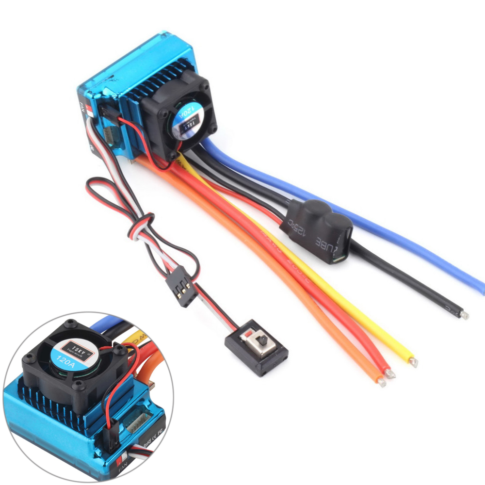 Nuovo 120A Sensored Brushless Speed Controller ESC per 1/8 1/10 1/12 RC Auto Crawler All'ingrosso