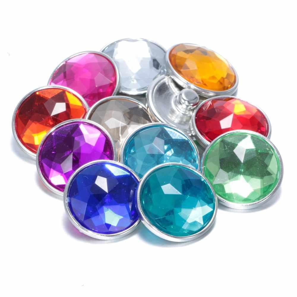 11 шт./лот, Разноцветные Хрустальные акриловые подвески-кнопки, 18 мм, кнопки, ювелирные изделия для рукоделия, кнопки, браслет, ювелирные изделия KZ0037