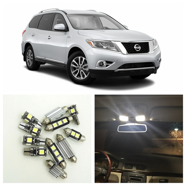 12pcs White LED Light Bulbs Interior Package Kit For Nissan Pathfinder 2013  2014 2015 Map Dome