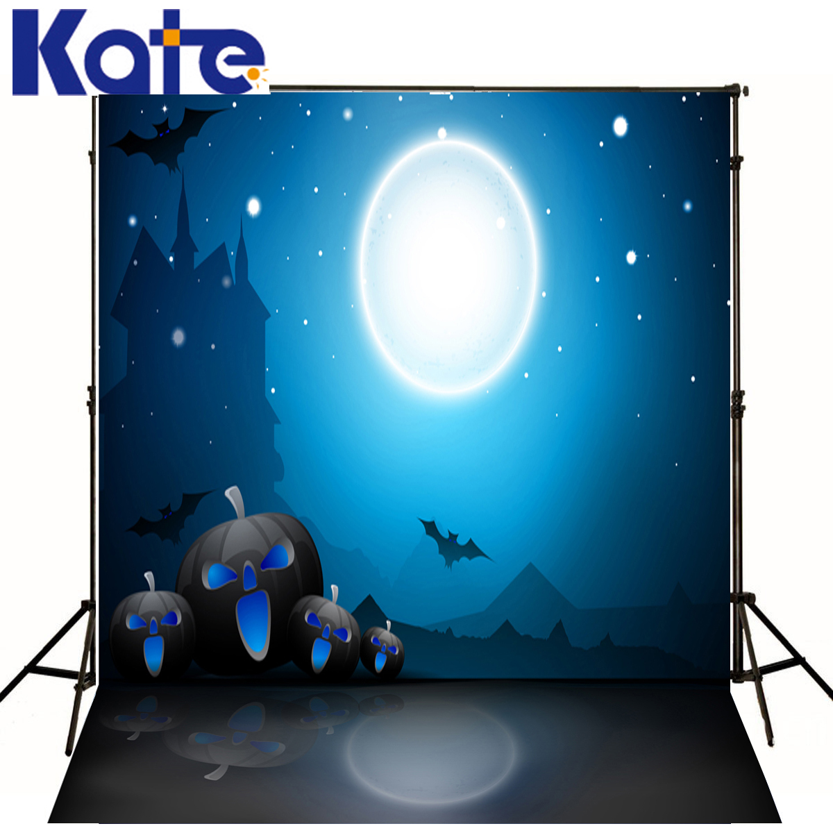 Photography Backdrops Big Moon Bat Blue Sky Halloween Photo Background Lantern Pumpkins  Backgrounds For Photo Studio