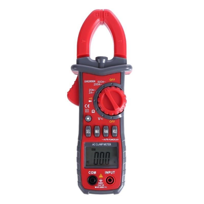 Красный клещи цифровой Напряжение текущее измерение ЖК-дисплей Подсветка Авто Диапазон Амперметр Вольтметр Электрические приборы
