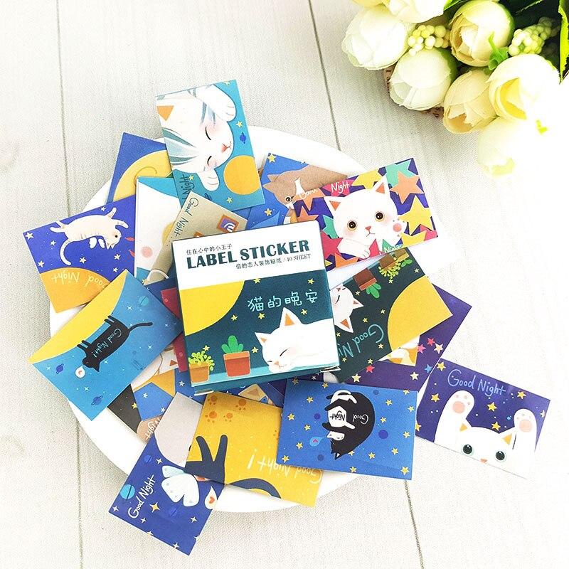 Купить с кэшбэком 40pcs/lot  cat good night mini box paper sticker Decoration DIY Scrapbooking Sticker Stationery office kawaii label stickers