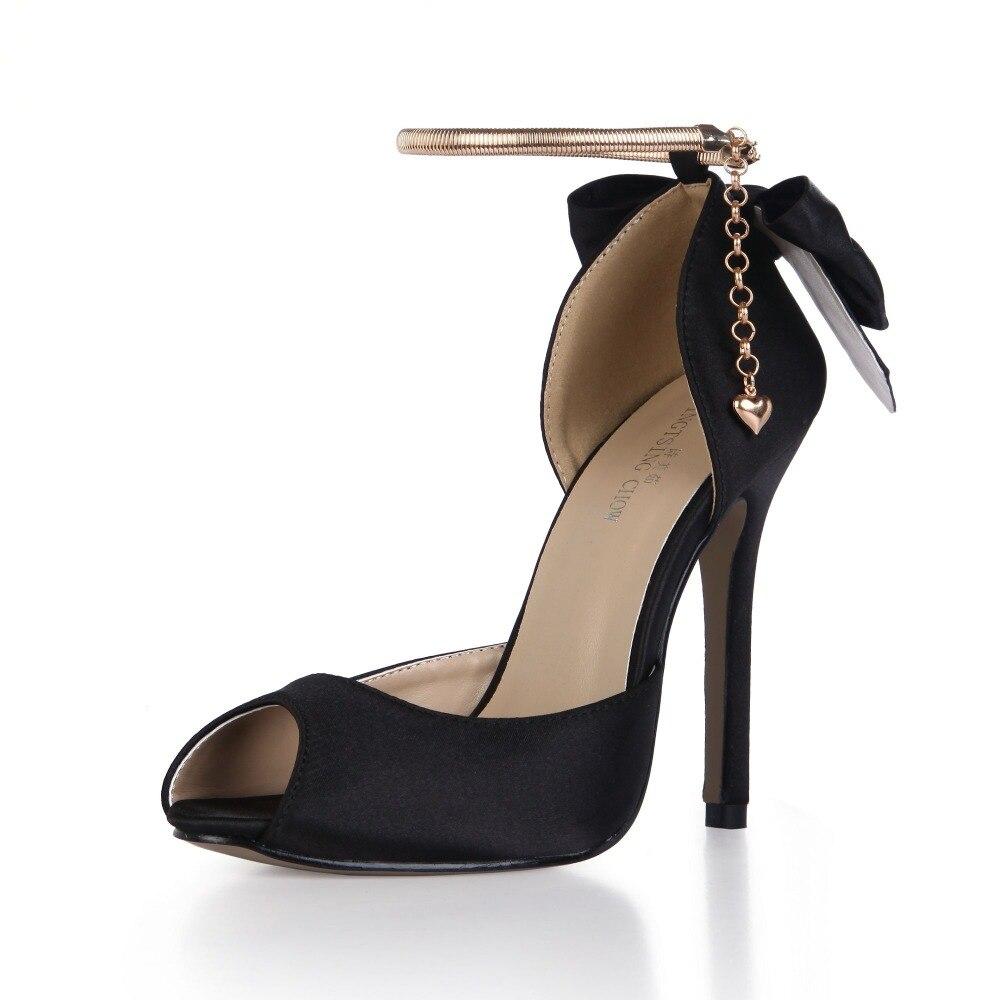 Сатим лето открытым носком на высоком каблуке сандалии женщин большой размер галстук-Бабочка туфли на высоких каблуках цепи бантом Свадебные дамы обувь