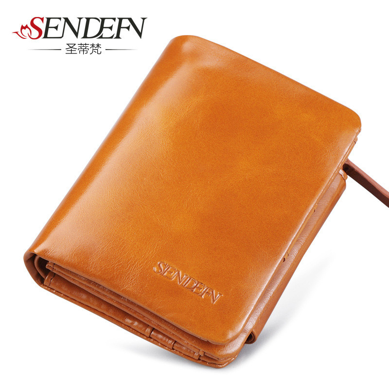 Sendefn short female oil leather wallet easy to transport women wallet card holder to the value of the dollar fashion lady Purse adding value to grains