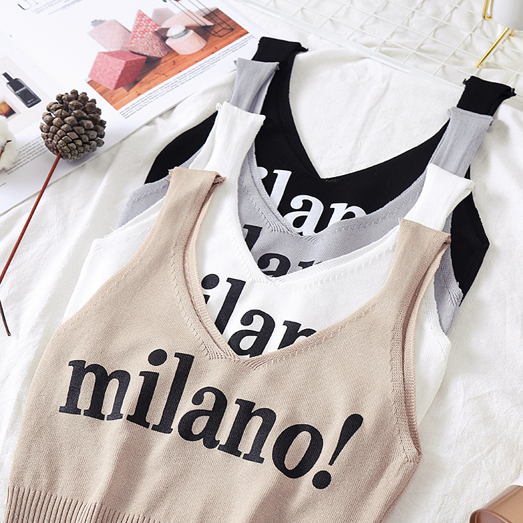 HTB14QnpaQT2gK0jSZPcq6AKkpXaz - HELIAR Tops Female Sexy Crop Top Fashion Lettering milano Camisoles Lady Chic White Crop Top Femme Summer Knit Tank Tops women
