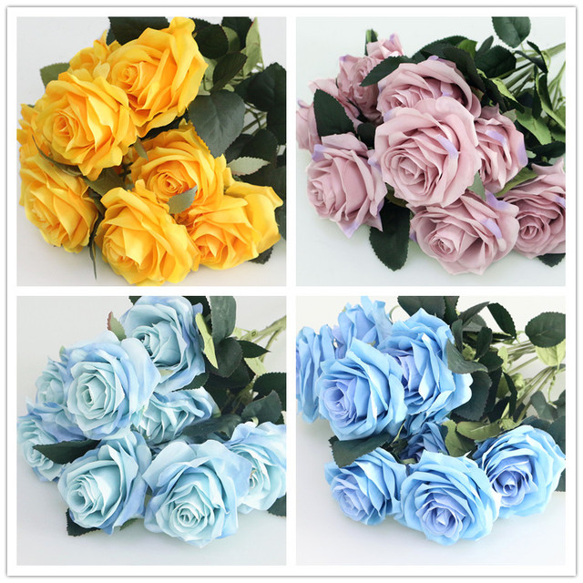 1 Bunch/10 Head Silk French Rose Floral Bouquet Fake Flower Arrange Table Daisy Wedding Flowers Decor Party Accessory Flores