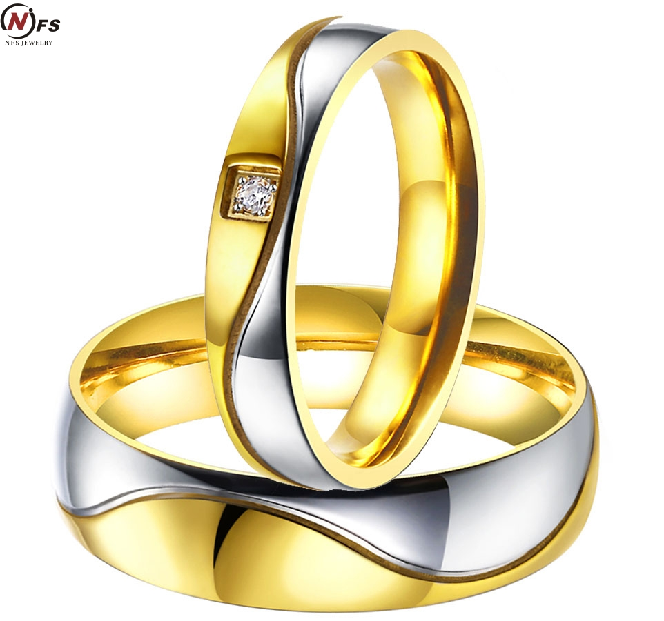 Pair Titanium Steel Wedding Bands Engagement Couples Rings Sets For  Couple Gold Color For