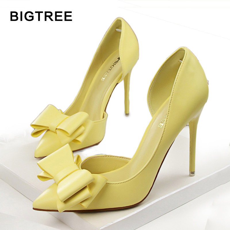 BIGTREE Fashion Women Pumps Sexy High Heels Wedding Shoes Pointed Toe Dress Shoes Female 2018 Women Heel Shoes pink 7 Colors 2018 women yellow high heel pumps pointed toe metal heels wedding heel dress shoes high quality slip on blade heel shoes