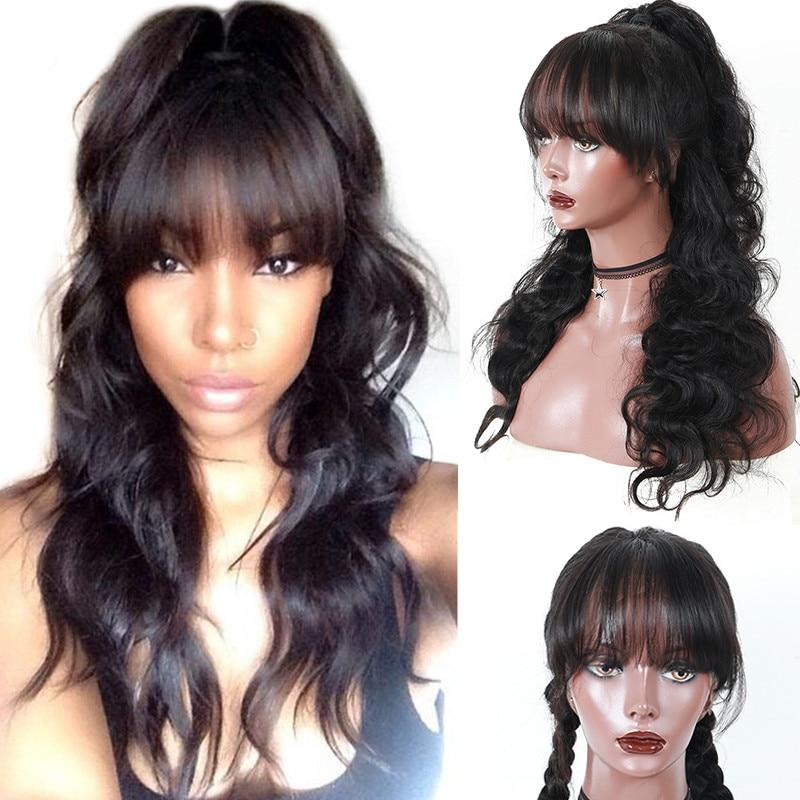 360 Renda Frontal Wig Dengan Poni 180% Tubuh Gelombang Brasil Renda - Rambut manusia (untuk hitam)