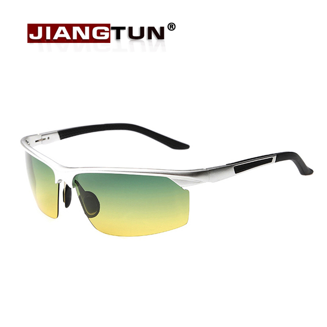 JIANGTUN 2017 Men Driving Mirror Night And Day Dimming Night Vision Glasses Polarized Sunglasses Male Aluminum Alloy Sunglasses