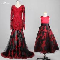 Rse776 продажи Двойка для платье для мамы и дочки с длинным рукавом Русалка красные, черные свадебное платье