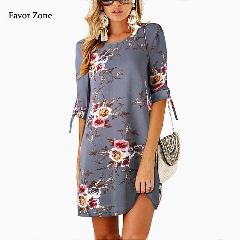 Women Summer Dress 2019 Boho Style Floral Print Chiffon Beach Dress Tunic Sundress Loose Mini Party Dress Vestidos Plus Size 5XL