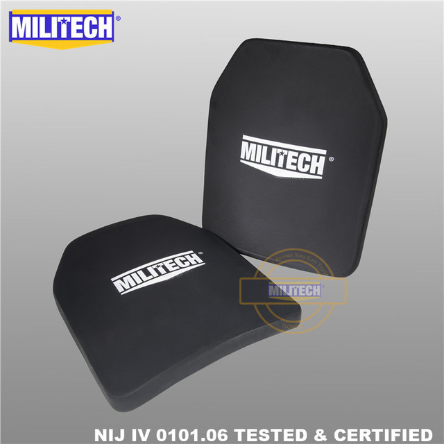 """Militech duas peças 10 """"x 12"""" alumina cerâmica & pe nij iv 0101.06 suporte placa à prova de balas sozinho painel balístico com frete grátis"""