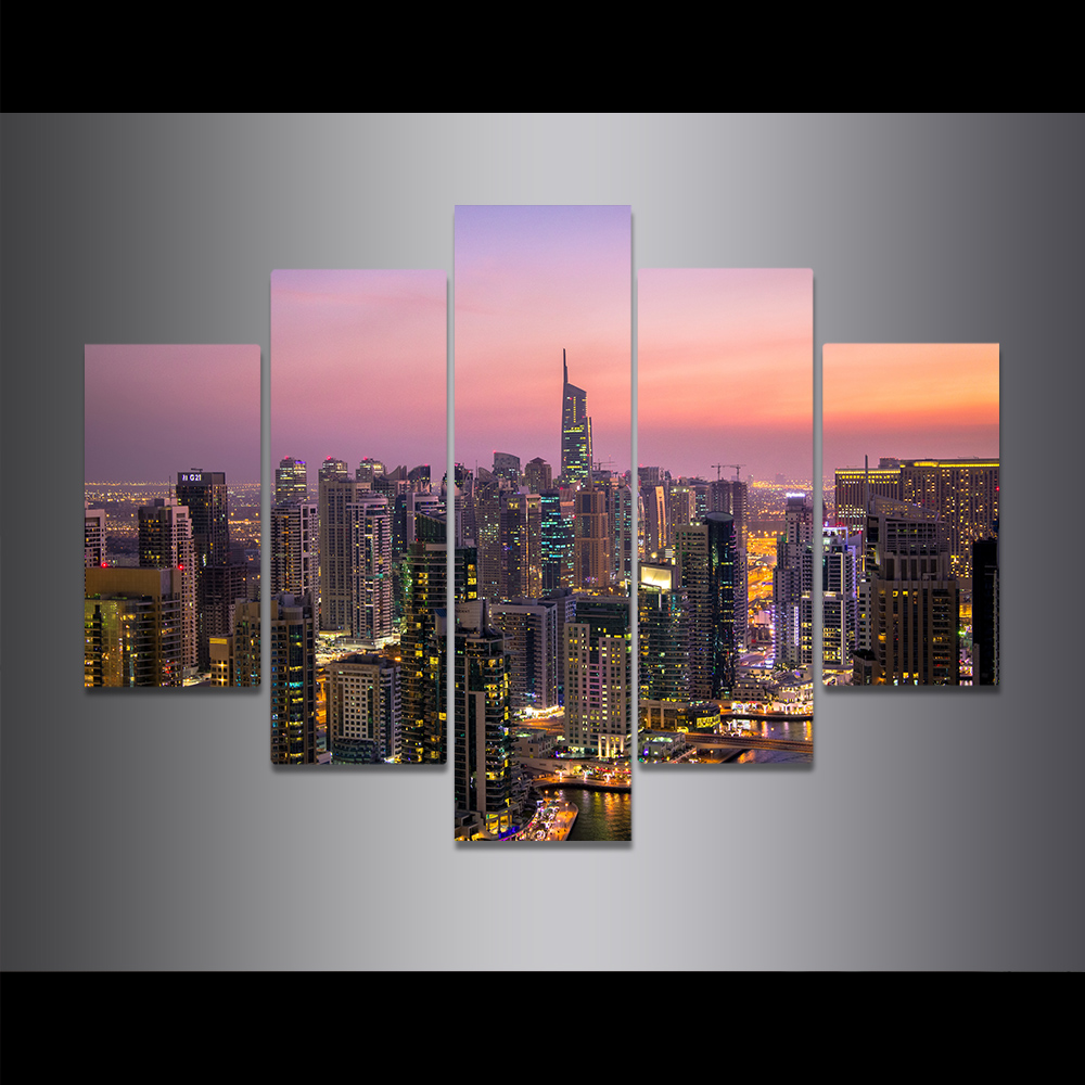 Unframed Canvas Painting Colored Clouds City Views Skyscrapers Picture Prints Wall Picture For Living Room Wall Art Decoration