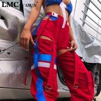 LMCAVASUN Women fashion High Waist Side Hollow Out Pants Button Split Streetwear Sweatpants Womens Trousers Spliced Colour Pants