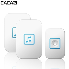 CACAZI Intelligent Waterproof Wireless Doorbell 300M Remote 1 2 Button 1 2 3 Receiver US EU UK AU Plug Home LED Light Call Bell цены онлайн
