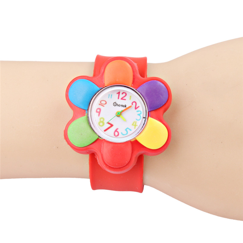 Cartoon Children's Watch Flowers Silicone Kids Sports Puzzle Toys Electronic Pat Circles Ringpipe Wrist Watches