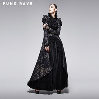 2015 Women Sexy Soft Lace Granny Chic Gothic Black And Golden Printing Coat With Long Tail
