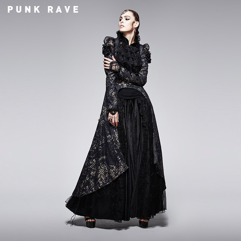 PUNK RAVE Gothic Black and Golden Printing Coat with Long Tail Sexy Soft Lace Granny-chic Y-567