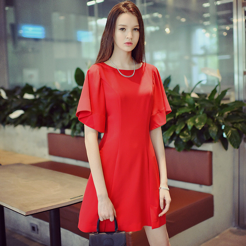 original summer dress 2017 new big sizes fashion flare sleeved casual solid short party dresses women wholesale
