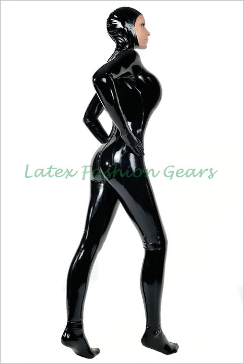 Fashion women Black rubber latex catsuit with hood mask cap rubber bodysuit with socks and gloves custom made hot sale