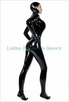 Fashion women Black rubber latex catsuit with hood mask cap rubber bodysuit with socks and gloves custom made hot sale - DISCOUNT ITEM  10% OFF All Category