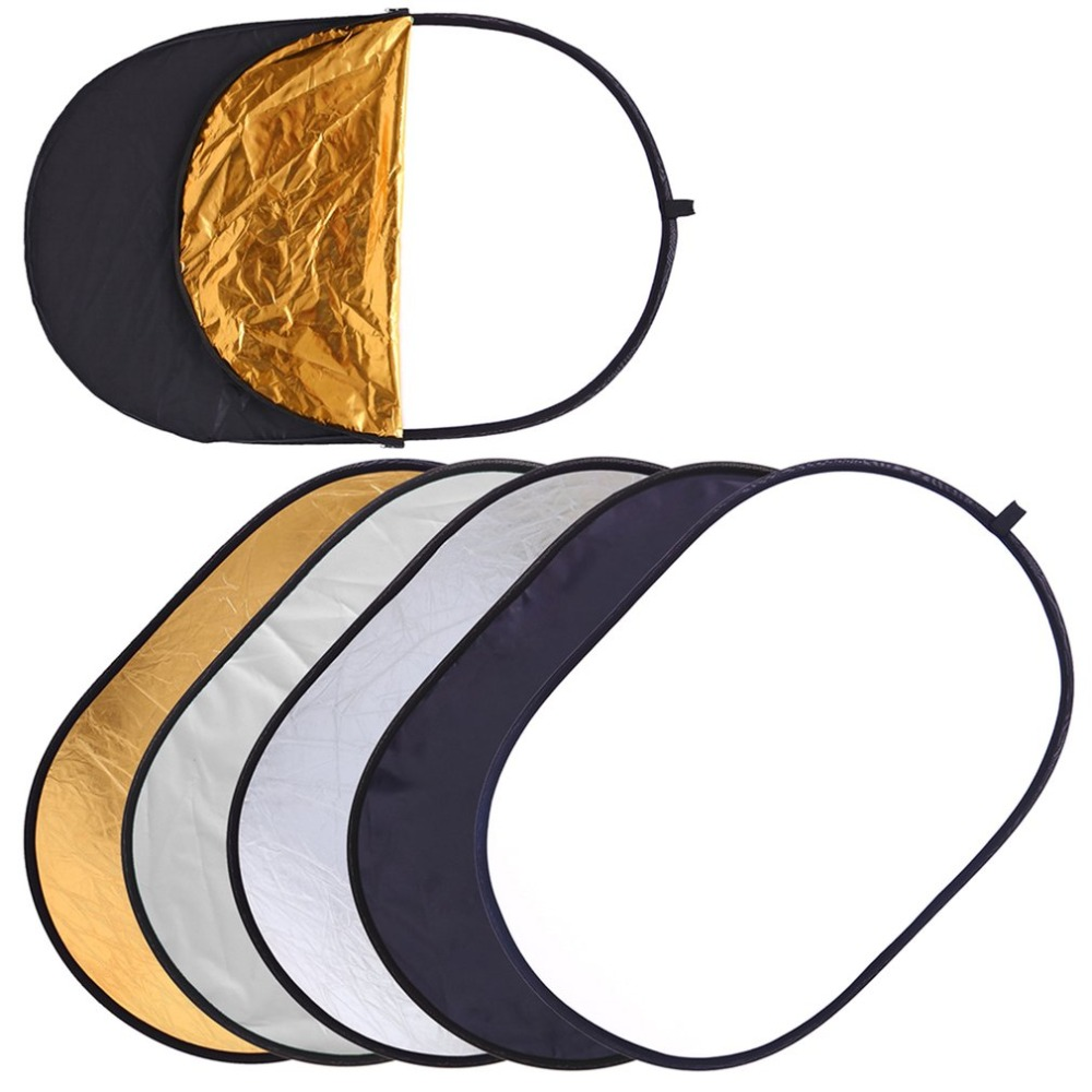 60x90cm Collapsible Light Reflector 5 In 1 Oval Multi Disc Photography Studio Photo Reflector Handhold Portable Photo Disc