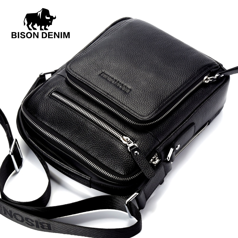 BISON DENIM Top Quality 100% Genuine Leather Bag Men iPad Tabelt Cowskin crossbody bag Men's Handbags & Messenger Bags for gift