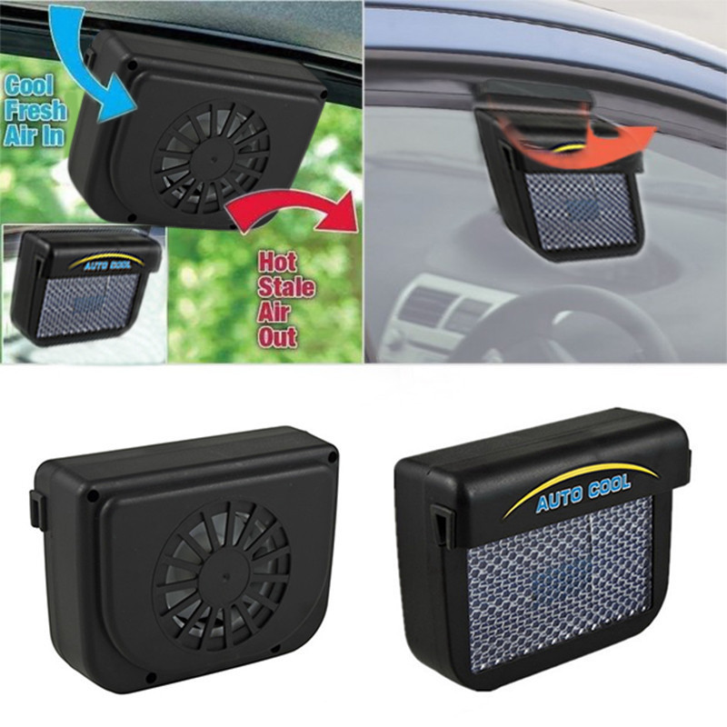 Universal Sun Power Energy Saving Ventilation Car Window Fan Auto Automatic Cooler Air Vehicle Radiator Ventilator Black